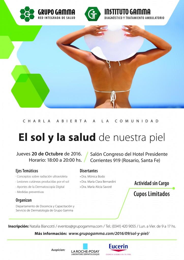 """Charla abierta a la comunidad """"El sol y la salud de nuestra piel""""."""