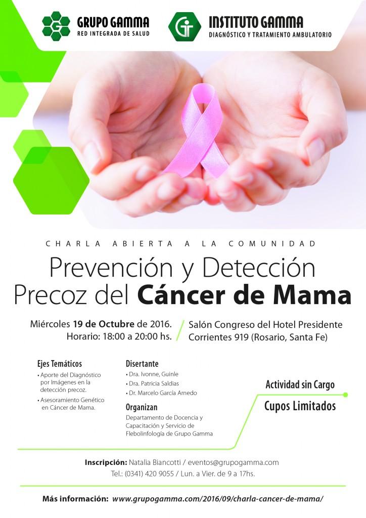 """Charla abierta a la comunidad: """"Prevención y Detección Precoz del Cáncer de Mama""""."""